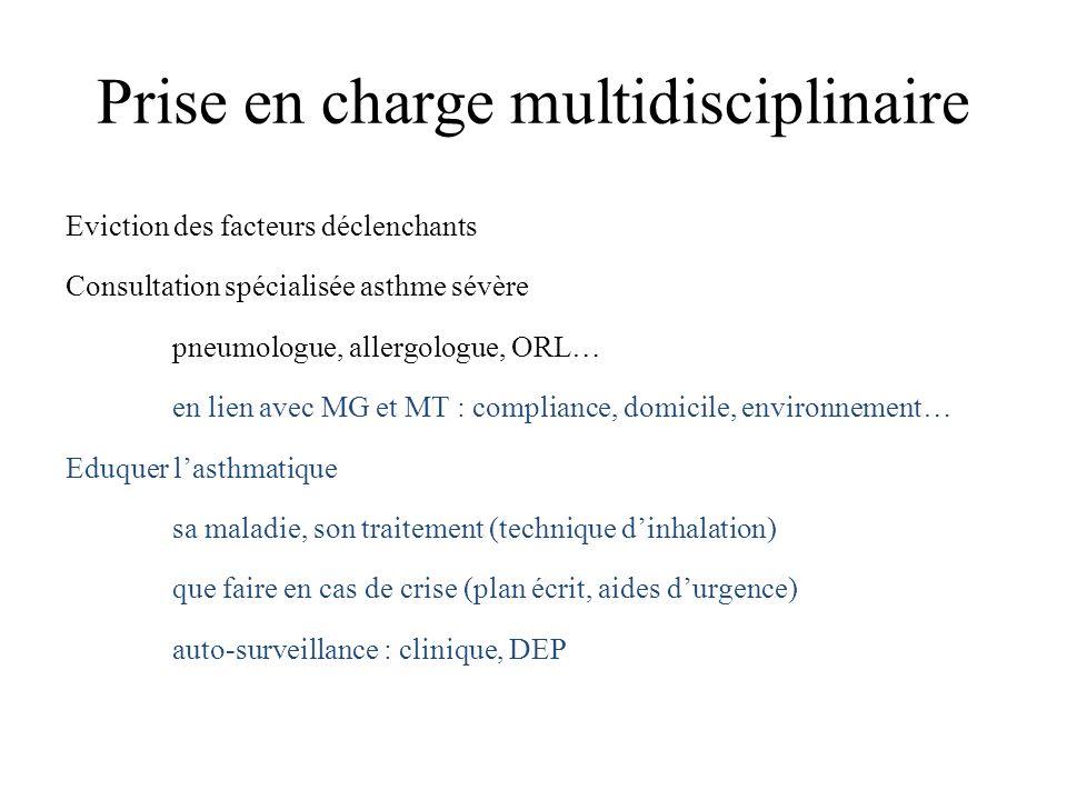 Prise en charge multidisciplinaire Eviction des facteurs déclenchants Consultation spécialisée asthme sévère pneumologue, allergologue, ORL… en lien a