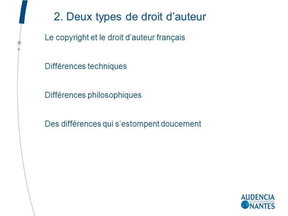 2. Deux types de droit dauteur Le copyright et le droit dauteur français Différences techniques Différences philosophiques Des différences qui sestomp