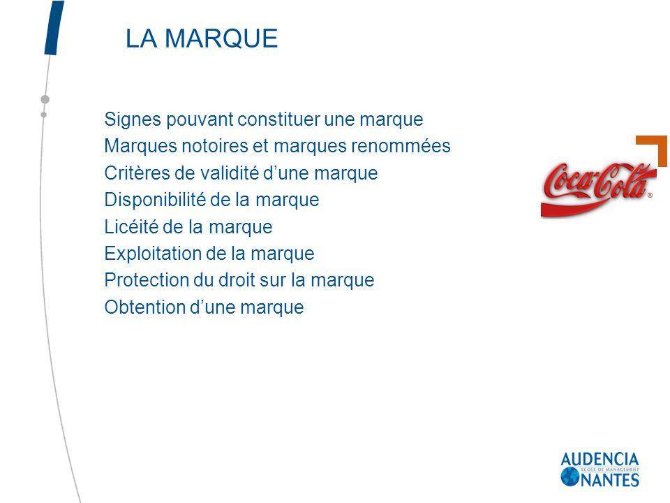 LA MARQUE Signes pouvant constituer une marque Marques notoires et marques renommées Critères de validité dune marque Disponibilité de la marque Licéi