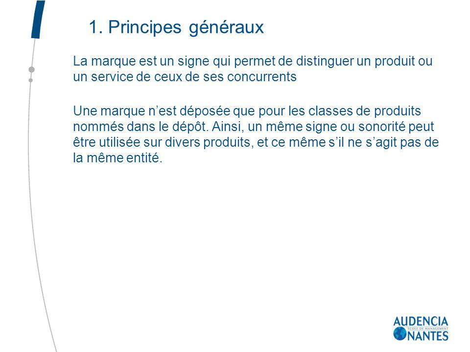 1. Principes généraux La marque est un signe qui permet de distinguer un produit ou un service de ceux de ses concurrents Une marque nest déposée que