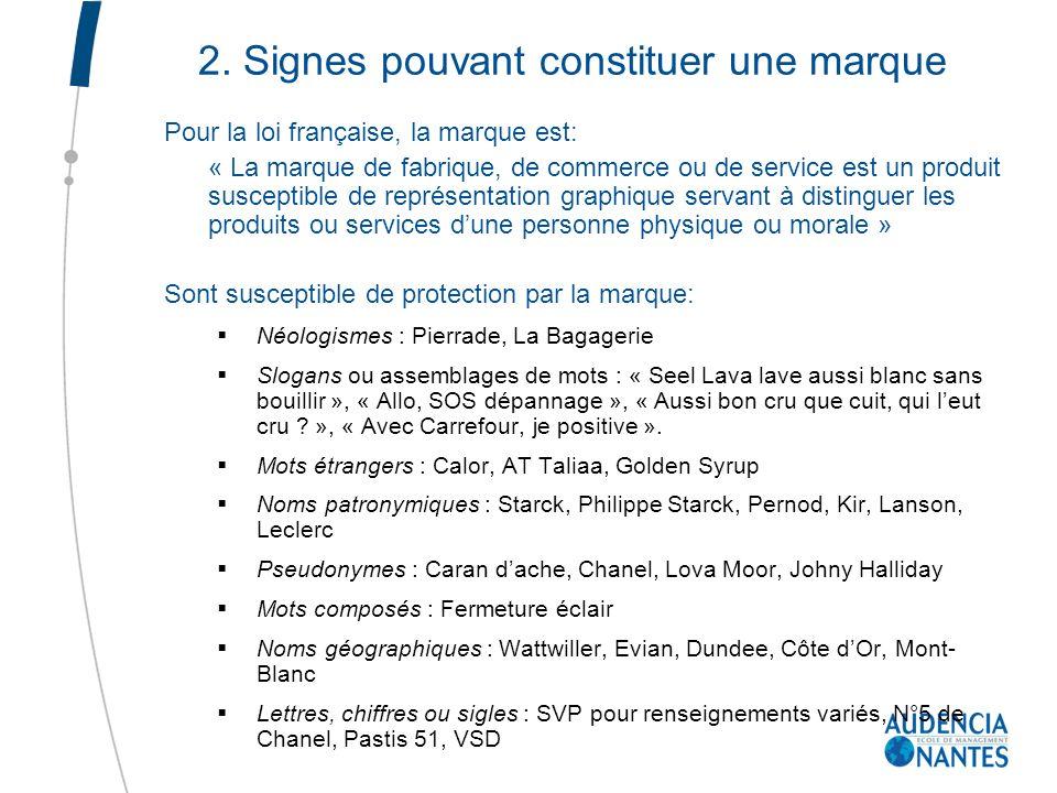 2. Signes pouvant constituer une marque Pour la loi française, la marque est: « La marque de fabrique, de commerce ou de service est un produit suscep