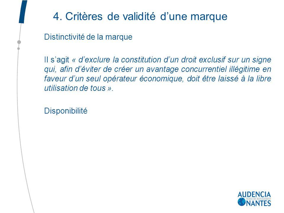 4. Critères de validité dune marque Distinctivité de la marque Il sagit « dexclure la constitution dun droit exclusif sur un signe qui, afin déviter d