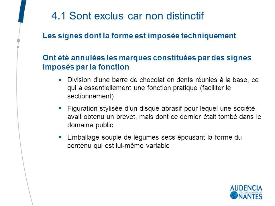 4.1 Sont exclus car non distinctif Les signes dont la forme est imposée techniquement Ont été annulées les marques constituées par des signes imposés