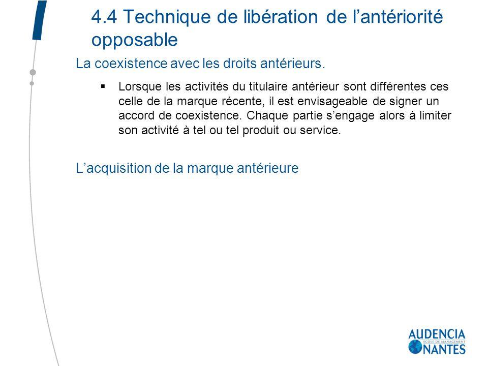 4.4 Technique de libération de lantériorité opposable La coexistence avec les droits antérieurs. Lorsque les activités du titulaire antérieur sont dif