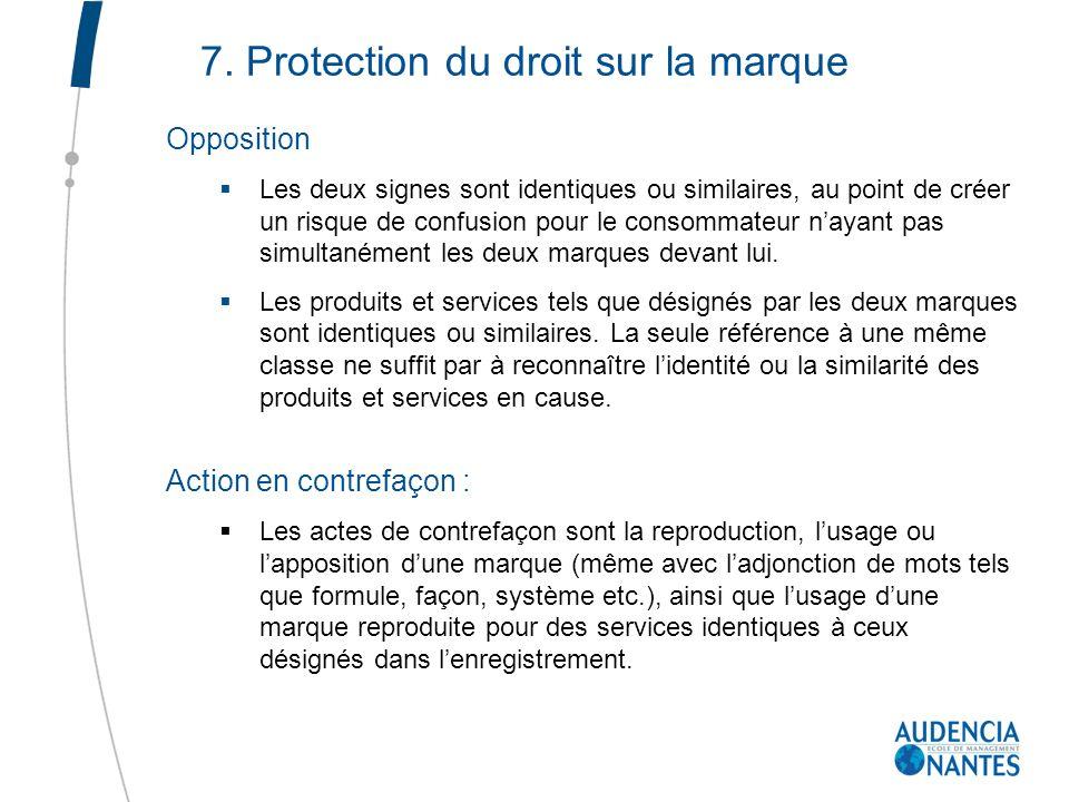 7. Protection du droit sur la marque Opposition Les deux signes sont identiques ou similaires, au point de créer un risque de confusion pour le consom