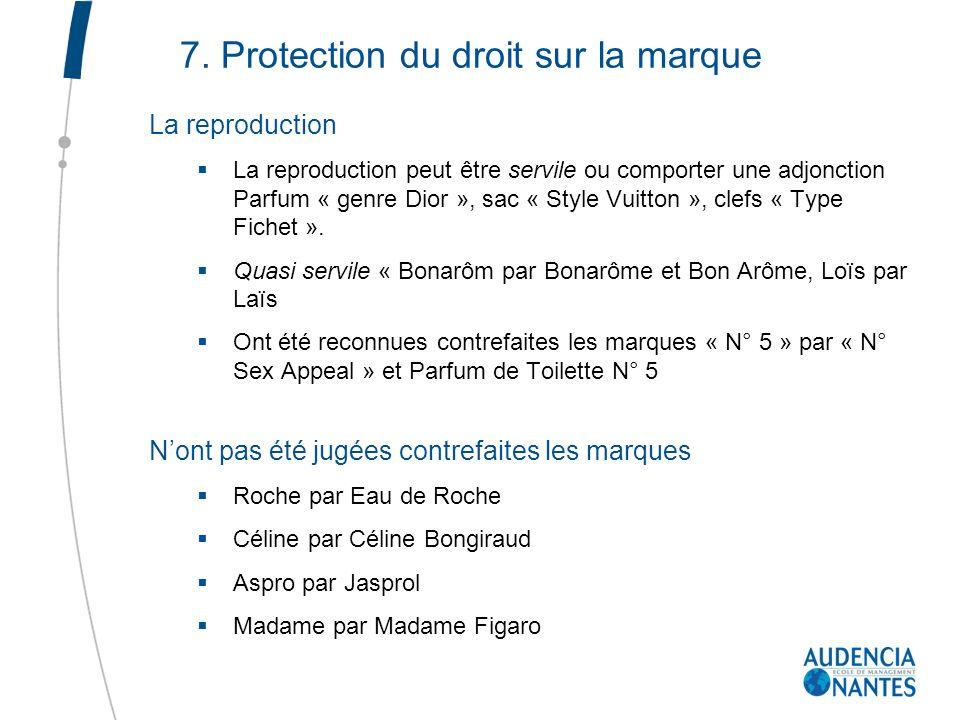 7. Protection du droit sur la marque La reproduction La reproduction peut être servile ou comporter une adjonction Parfum « genre Dior », sac « Style