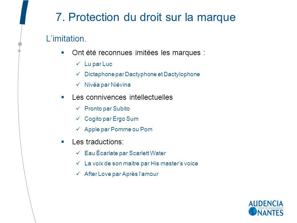 7. Protection du droit sur la marque Limitation. Ont été reconnues imitées les marques : Lu par Luc Dictaphone par Dactyphone et Dactylophone Nivéa pa
