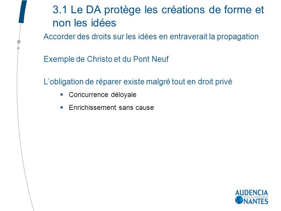 3.1 Le DA protège les créations de forme et non les idées Accorder des droits sur les idées en entraverait la propagation Exemple de Christo et du Pon