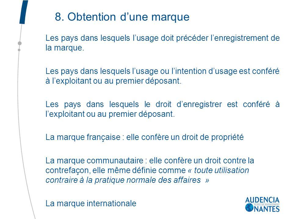 8. Obtention dune marque Les pays dans lesquels lusage doit précéder lenregistrement de la marque. Les pays dans lesquels lusage ou lintention dusage