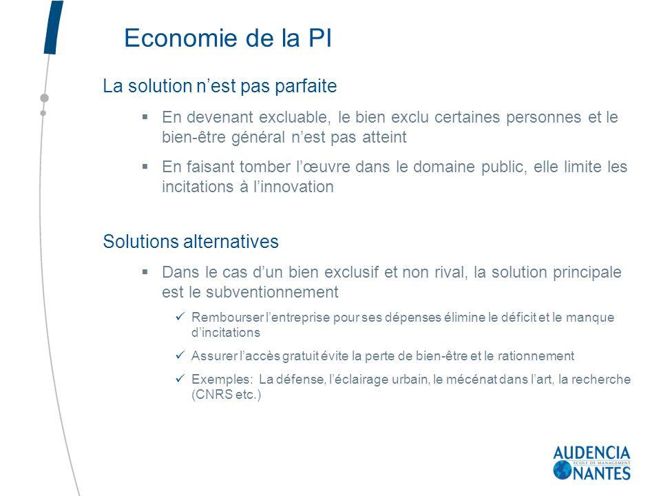 Economie de la PI La solution nest pas parfaite En devenant excluable, le bien exclu certaines personnes et le bien-être général nest pas atteint En f