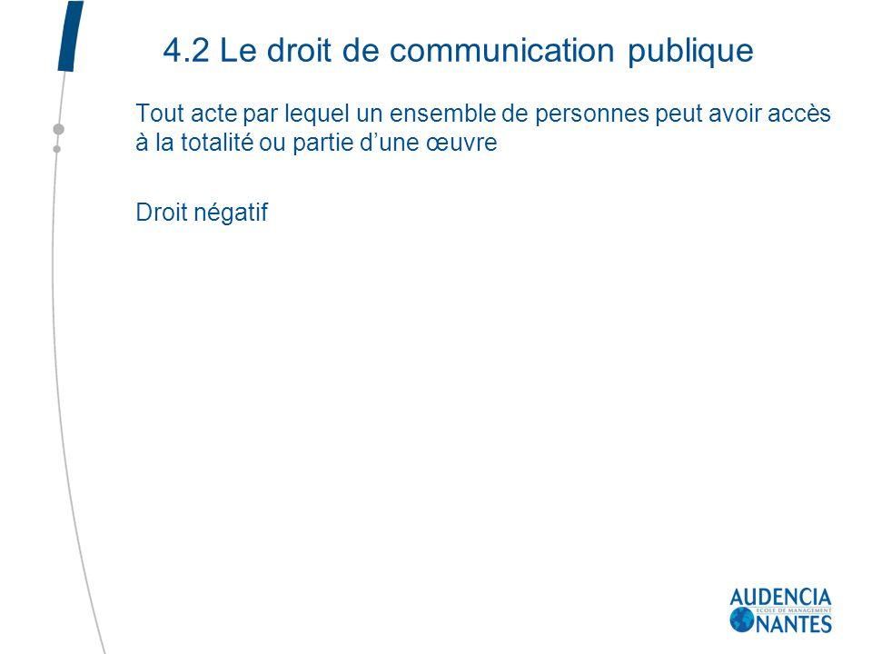 4.2 Le droit de communication publique Tout acte par lequel un ensemble de personnes peut avoir accès à la totalité ou partie dune œuvre Droit négatif