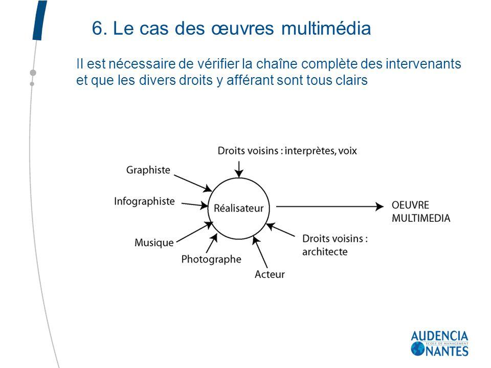 6. Le cas des œuvres multimédia Il est nécessaire de vérifier la chaîne complète des intervenants et que les divers droits y afférant sont tous clairs