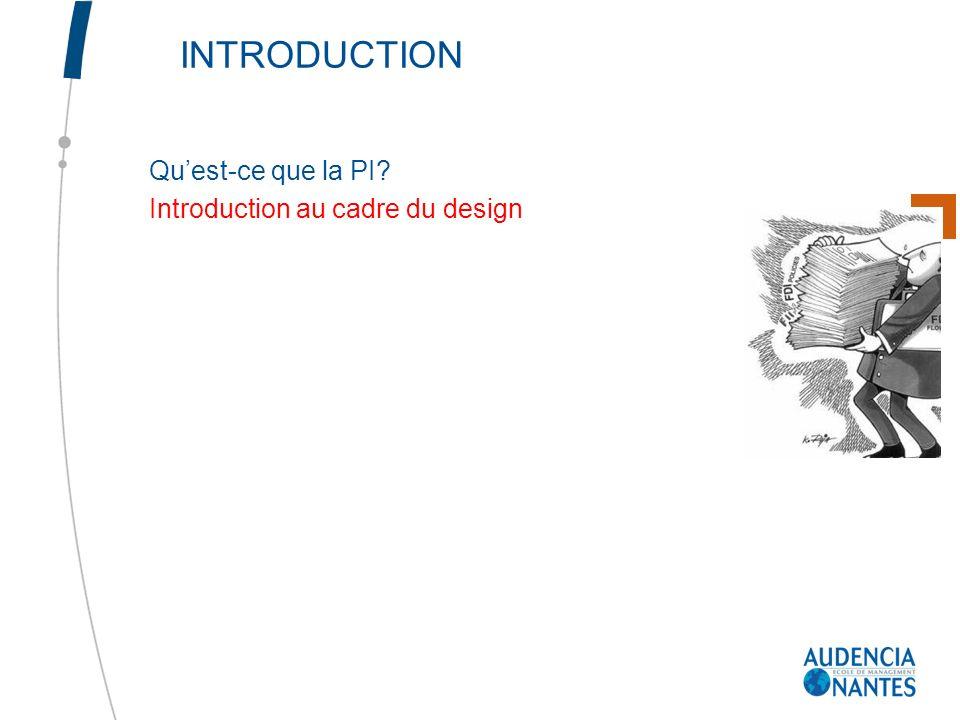 INTRODUCTION Quest-ce que la PI? Introduction au cadre du design