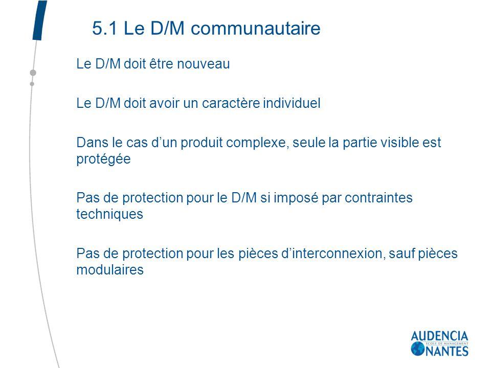 5.1 Le D/M communautaire Le D/M doit être nouveau Le D/M doit avoir un caractère individuel Dans le cas dun produit complexe, seule la partie visible