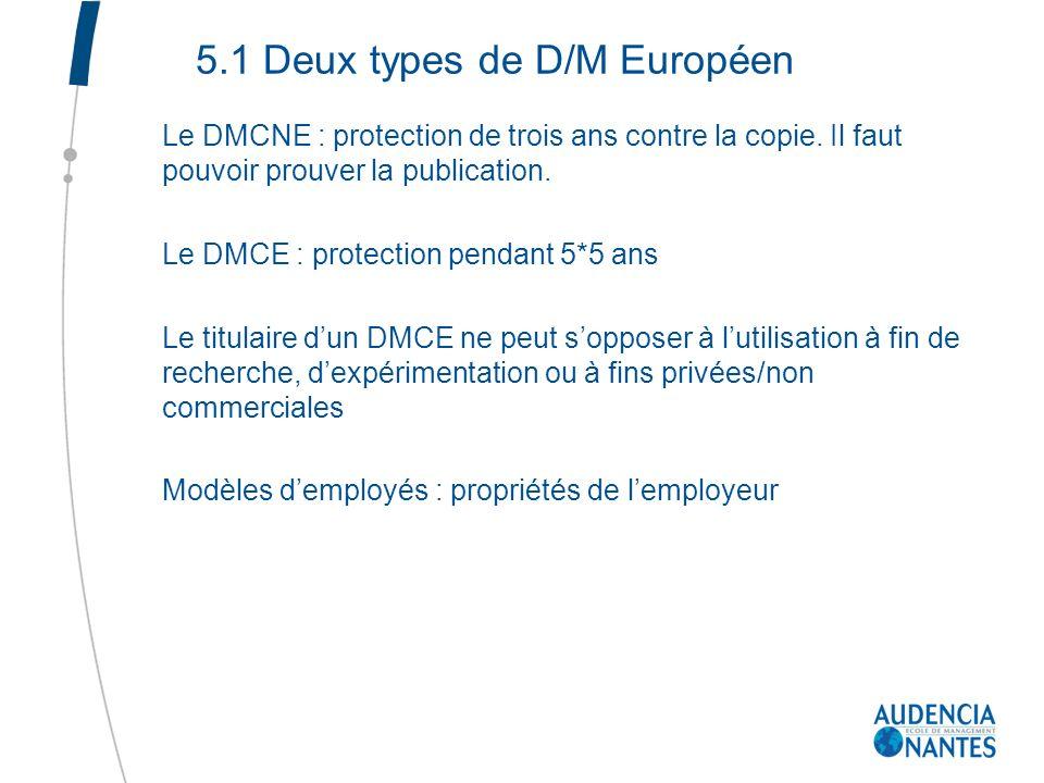5.1 Deux types de D/M Européen Le DMCNE : protection de trois ans contre la copie. Il faut pouvoir prouver la publication. Le DMCE : protection pendan