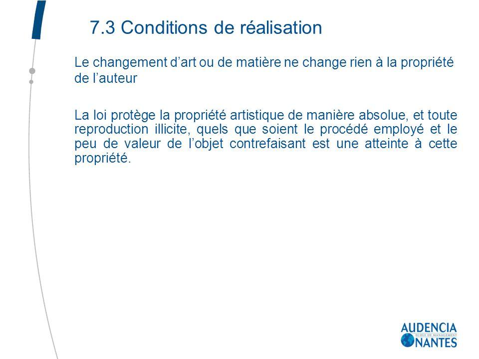 7.3 Conditions de réalisation Le changement dart ou de matière ne change rien à la propriété de lauteur La loi protège la propriété artistique de mani