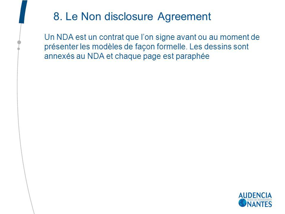 8. Le Non disclosure Agreement Un NDA est un contrat que lon signe avant ou au moment de présenter les modèles de façon formelle. Les dessins sont ann