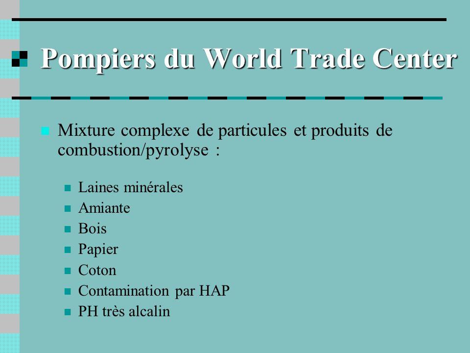 Pompiers du World Trade Center Mixture complexe de particules et produits de combustion/pyrolyse : Laines minérales Amiante Bois Papier Coton Contamin