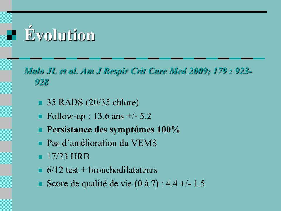Évolution Malo JL et al. Am J Respir Crit Care Med 2009; 179 : 923- 928 35 RADS (20/35 chlore) Follow-up : 13.6 ans +/- 5.2 Persistance des symptômes