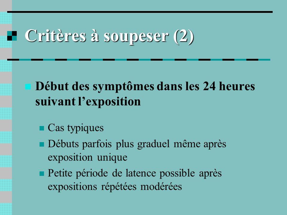 Critères à soupeser (2) Début des symptômes dans les 24 heures suivant lexposition Cas typiques Débuts parfois plus graduel même après exposition uniq