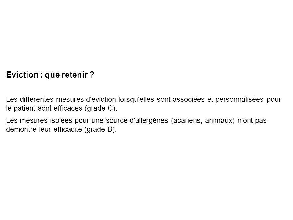 Eviction : que retenir ? Les différentes mesures d'éviction lorsqu'elles sont associées et personnalisées pour le patient sont efficaces (grade C). Le