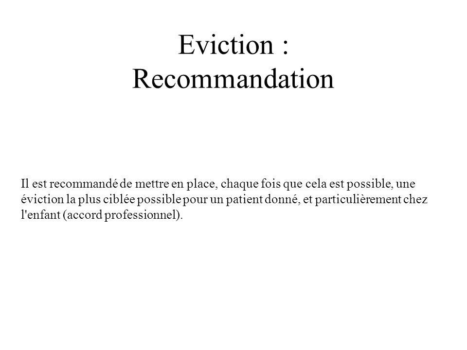 Eviction : Recommandation Il est recommandé de mettre en place, chaque fois que cela est possible, une éviction la plus ciblée possible pour un patien