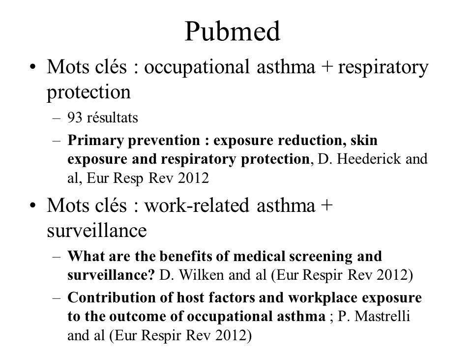 UK Statement occupational Asthma (1) Suspicion dasthme professionnel : –Journal de DEP (grade A) –Les variations de fonction respiratoire pré et post - prise de poste ne peuvent être prises en considération pour la validation ou lexclusion diagnostique –Les variations de réponse non-spécifique à distance du travail ont une Se et une Spe de grade C à B