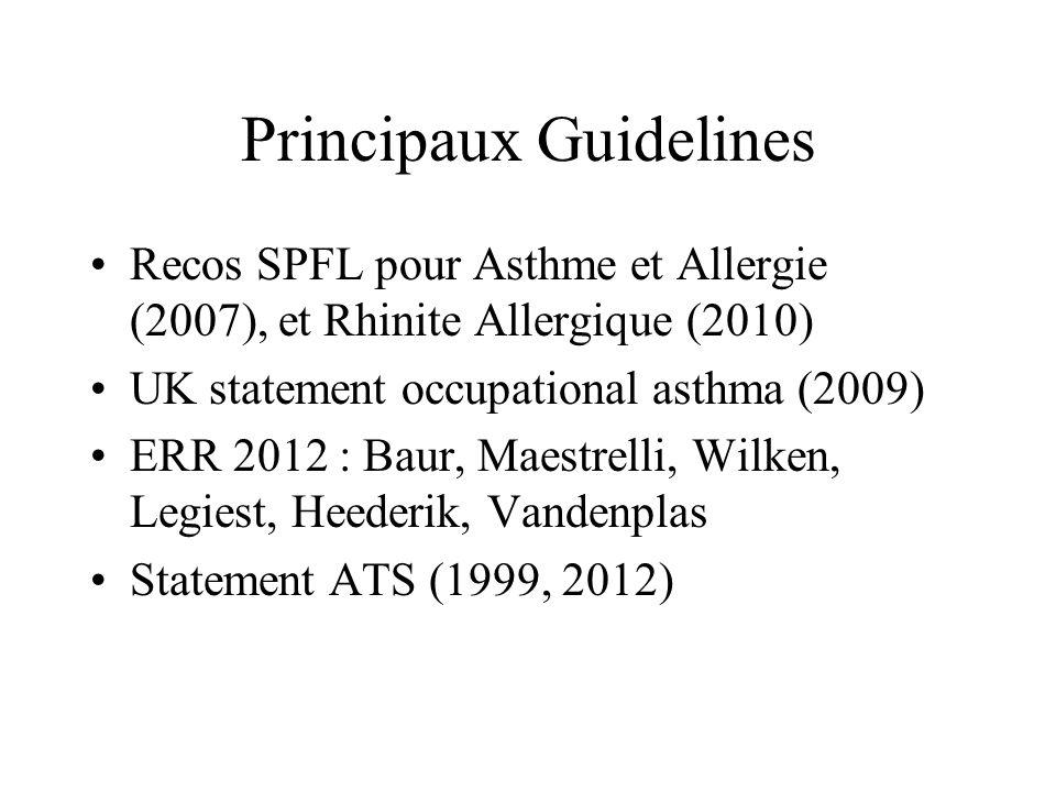 UK Statement occupational Asthma (2) Surveillance quand exposition à faible risque : –Spirométrie, CV et VEMS de référence (reco ATS) –Information du salarié –Questionnaire annuel Surveillance quand haut niveau de risque : –Idem et : –Questionnaire à 6 et 12 mois de la prise de poste, puis annuel –Surveillance spirométrique à considérer –Surveillance immunologique peu prouvée (grade C)