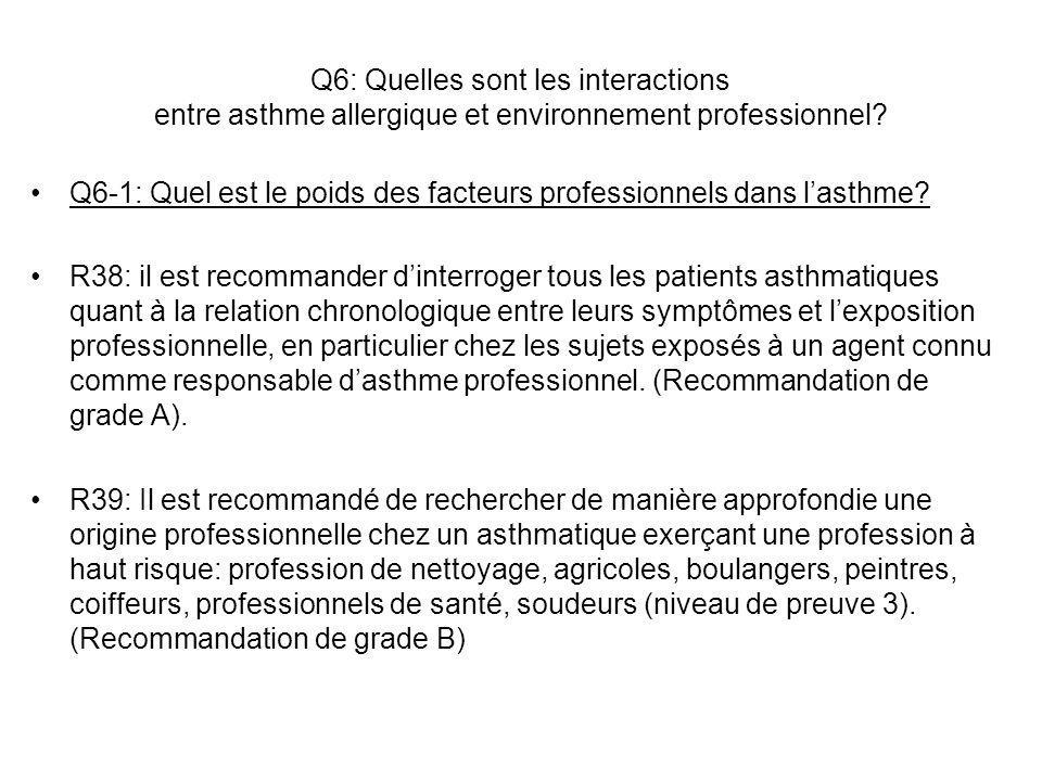 Q6: Quelles sont les interactions entre asthme allergique et environnement professionnel? Q6-1: Quel est le poids des facteurs professionnels dans las