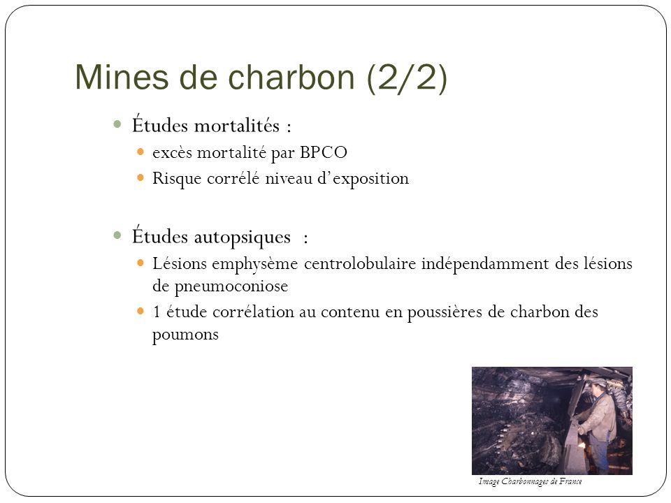 Mines de charbon (2/2) Études mortalités : excès mortalité par BPCO Risque corrélé niveau dexposition Études autopsiques : Lésions emphysème centrolob