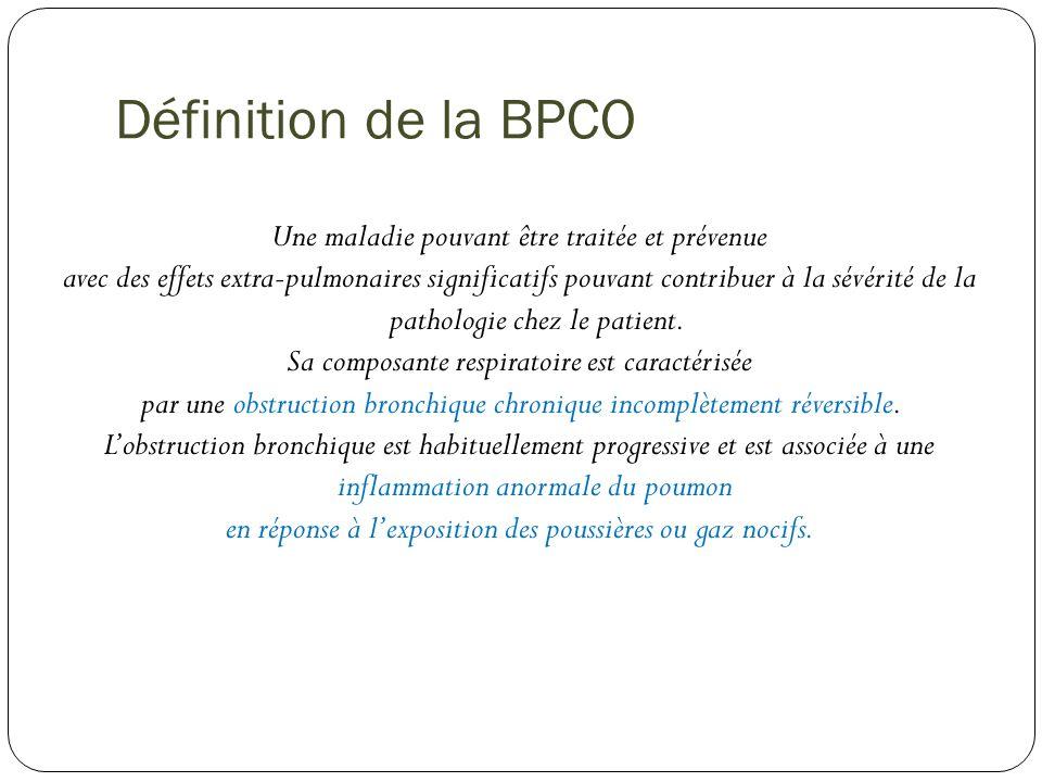 Définition de la BPCO Une maladie pouvant être traitée et prévenue avec des effets extra-pulmonaires significatifs pouvant contribuer à la sévérité de