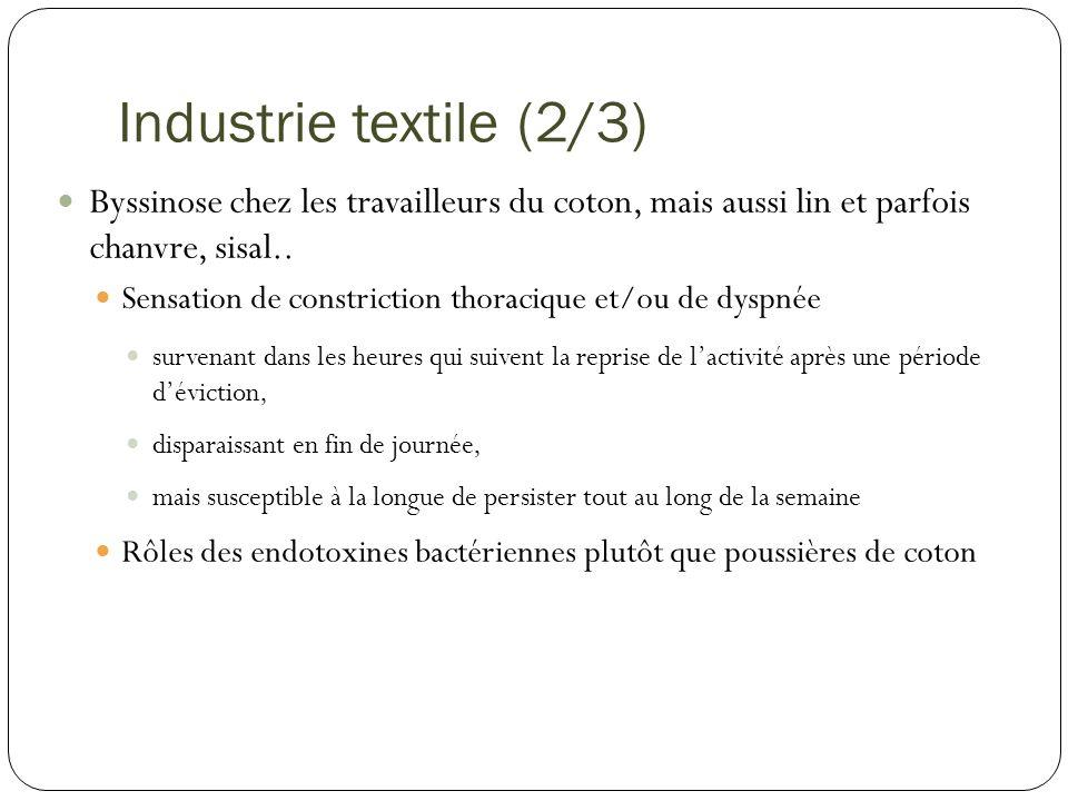 Industrie textile (2/3) Byssinose chez les travailleurs du coton, mais aussi lin et parfois chanvre, sisal.. Sensation de constriction thoracique et/o