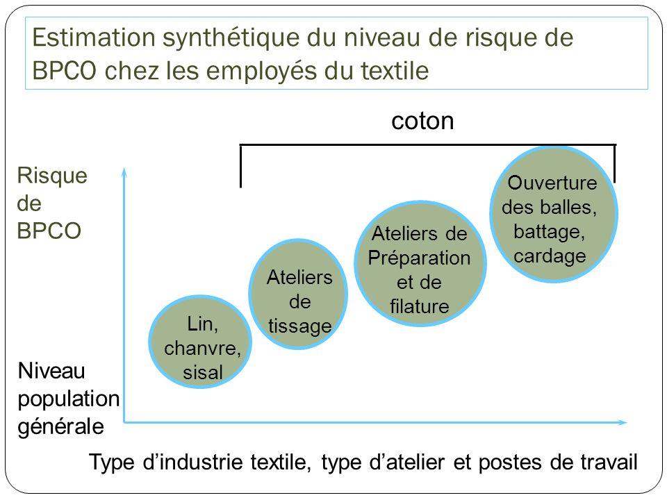 Estimation synthétique du niveau de risque de BPCO chez les employés du textile Risque de BPCO Type dindustrie textile, type datelier et postes de tra