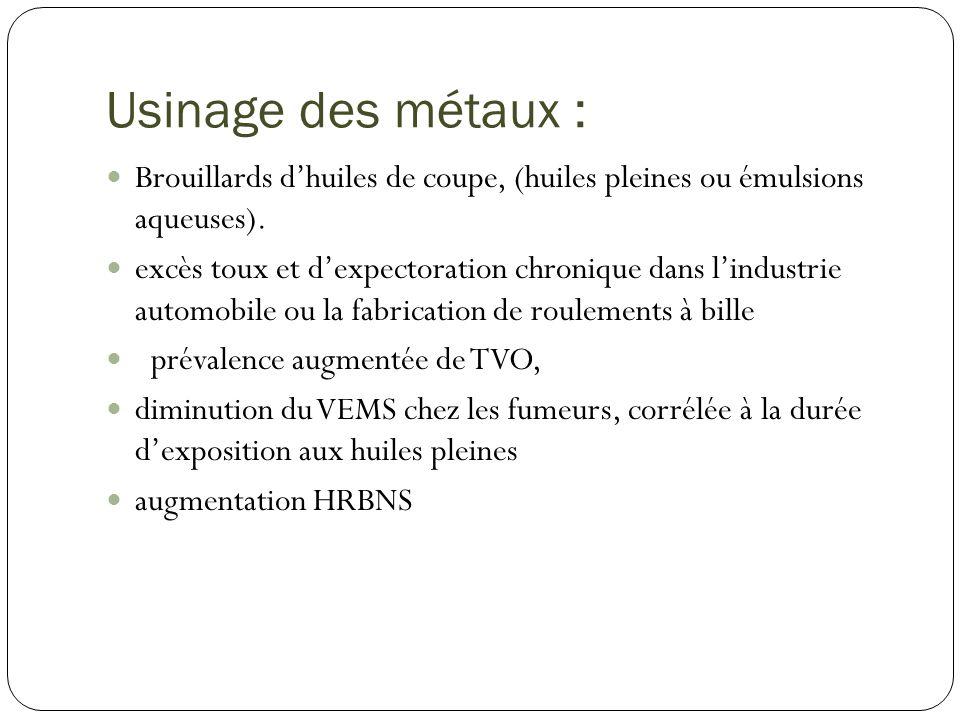 Usinage des métaux : Brouillards dhuiles de coupe, (huiles pleines ou émulsions aqueuses). excès toux et dexpectoration chronique dans lindustrie auto