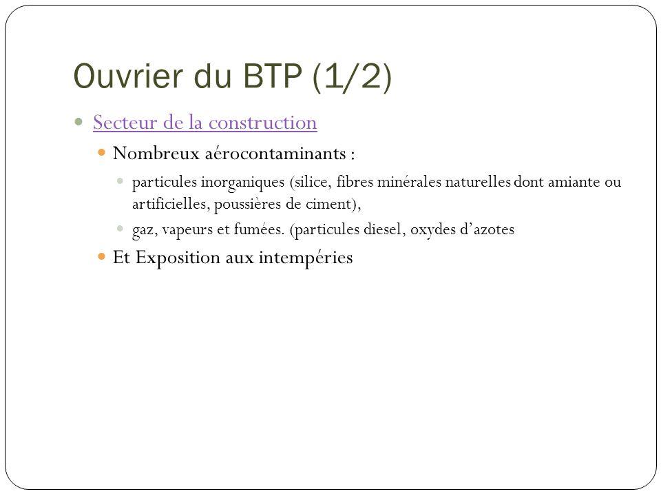 Ouvrier du BTP (1/2) Secteur de la construction Nombreux aérocontaminants : particules inorganiques (silice, fibres minérales naturelles dont amiante