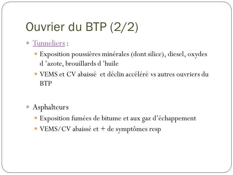 Ouvrier du BTP (2/2) Tunneliers : Tunneliers Exposition poussières minérales (dont silice), diesel, oxydes d azote, brouillards d huile VEMS et CV aba