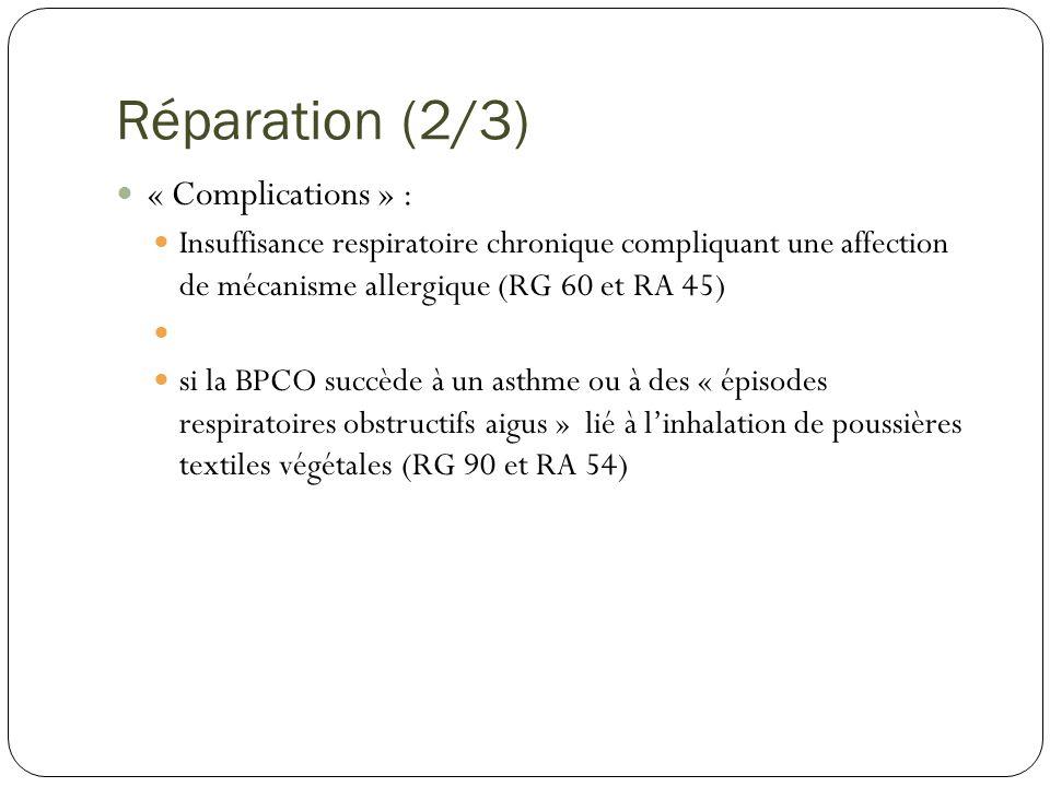 Réparation (2/3) « Complications » : Insuffisance respiratoire chronique compliquant une affection de mécanisme allergique (RG 60 et RA 45) si la BPCO