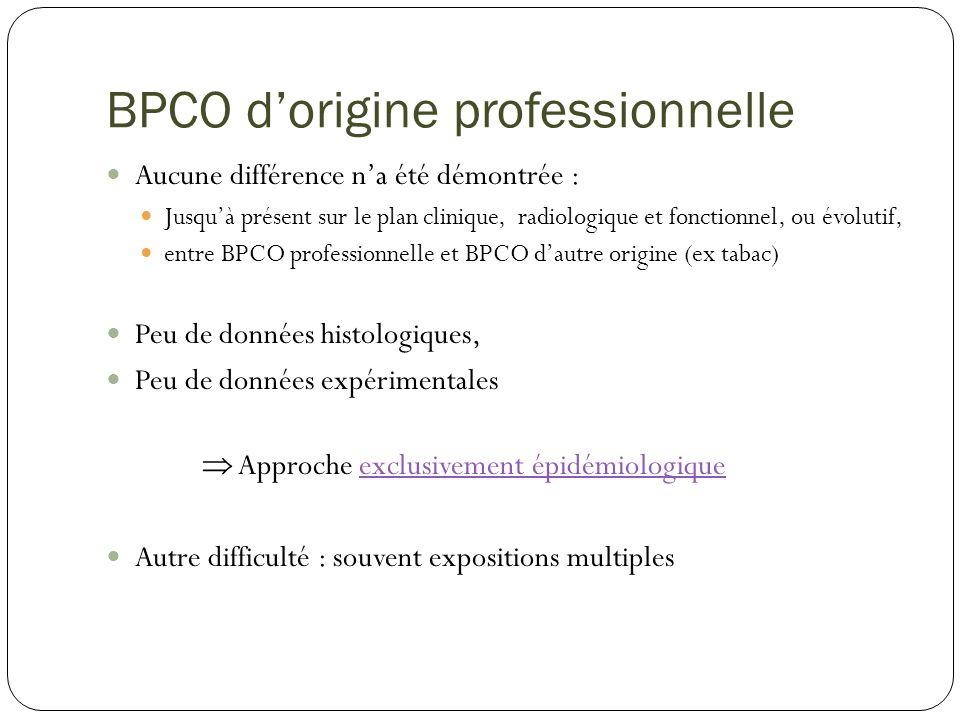 BPCO dorigine professionnelle Aucune différence na été démontrée : Jusquà présent sur le plan clinique, radiologique et fonctionnel, ou évolutif, entr