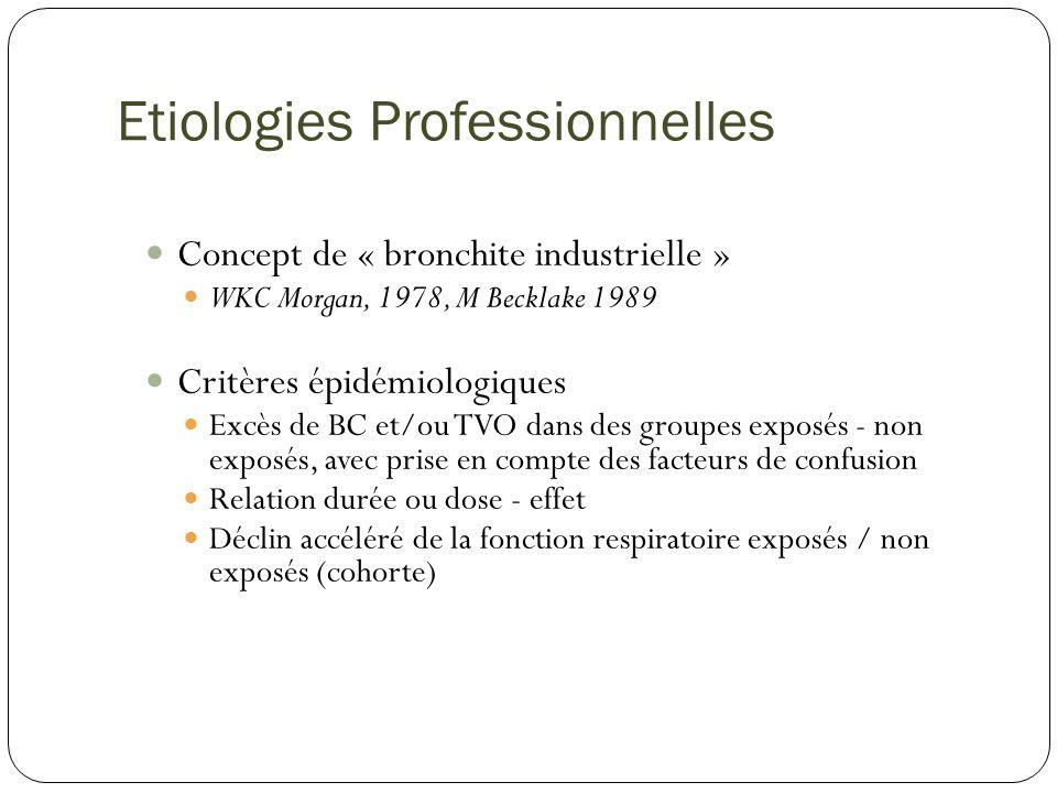 Etiologies Professionnelles Concept de « bronchite industrielle » WKC Morgan, 1978, M Becklake 1989 Critères épidémiologiques Excès de BC et/ou TVO da