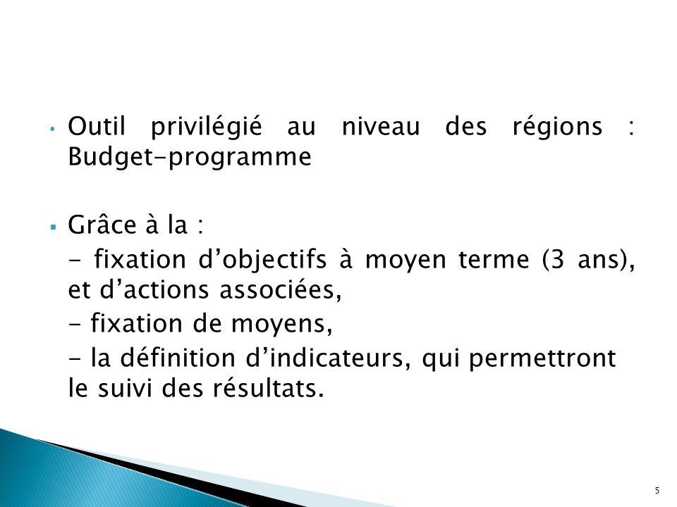 Les premiers changements sont de nature comptable (globalisation des crédits) Ce nest quen 2003 que les changements organisationnels apparaissent véritablement : - Régionalisation sanitaire (définition des délégations régionales, des entités de soins concernées, des responsables), - La démarche budget-programme.