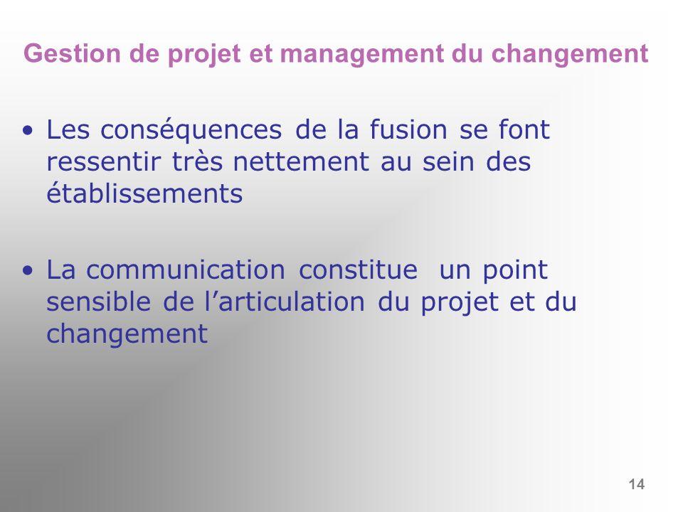 Gestion de projet et management du changement Les conséquences de la fusion se font ressentir très nettement au sein des établissements La communicati