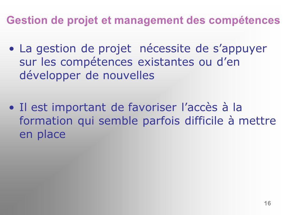 Gestion de projet et management des compétences La gestion de projet nécessite de sappuyer sur les compétences existantes ou den développer de nouvell