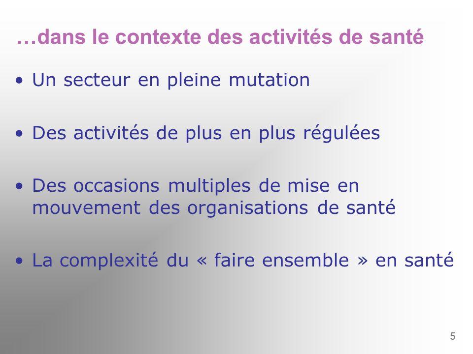 …dans le contexte des activités de santé Un secteur en pleine mutation Des activités de plus en plus régulées Des occasions multiples de mise en mouve