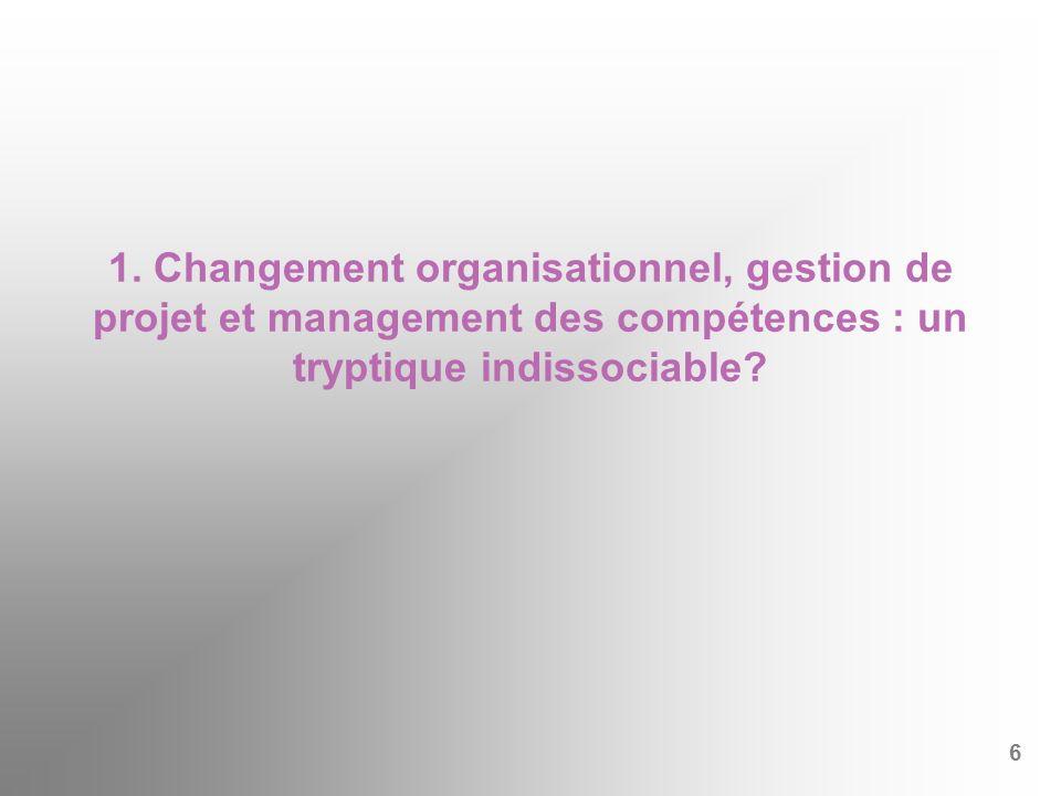 1. Changement organisationnel, gestion de projet et management des compétences : un tryptique indissociable? 6
