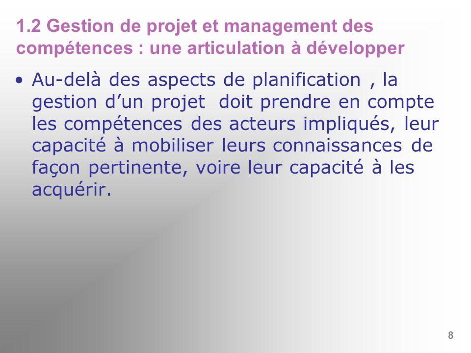 1.2 Gestion de projet et management des compétences : une articulation à développer Au-delà des aspects de planification, la gestion dun projet doit p