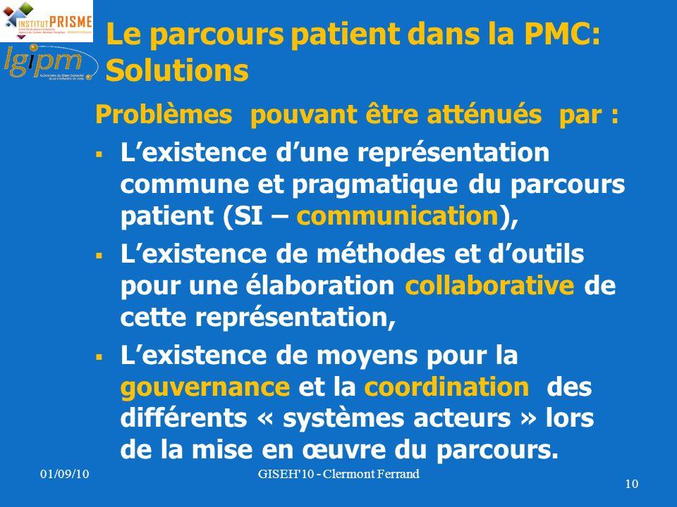 Le parcours patient dans la PMC: Solutions Problèmes pouvant être atténués par : Lexistence dune représentation commune et pragmatique du parcours pat
