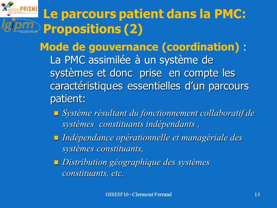 La PMC assimilée à un système de systèmes et donc prise en compte les caractéristiques essentielles dun parcours patient: Mode de gouvernance (coordin