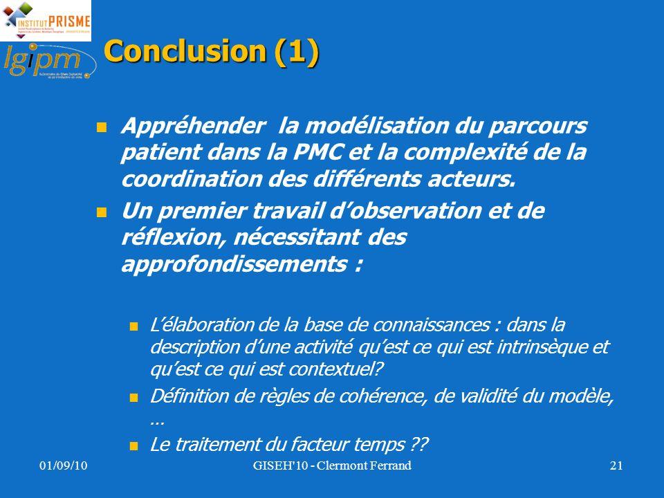 Conclusion (1) Appréhender la modélisation du parcours patient dans la PMC et la complexité de la coordination des différents acteurs. Un premier trav