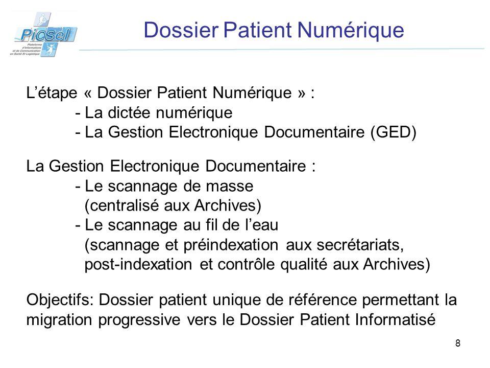 9 Dossier Patient Numérique Août 08 Appel doffre Sept - Nov.