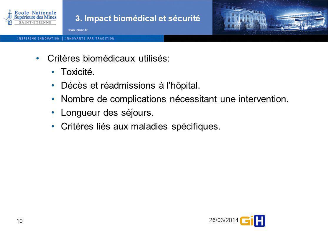 26/03/2014 10 3. Impact biomédical et sécurité Critères biomédicaux utilisés: Toxicité. Décès et réadmissions à lhôpital. Nombre de complications néce